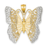 Solid Polished Diamond-cut Filigree Butterfly Pendant 14K Gold & Rhodium D1340