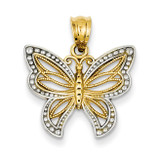 Polished Filigree Butterfly Pendant 14K Gold & Rhodium D1344
