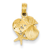 Mini Shell Cluster Pendant 14k Gold Solid Polished D1389