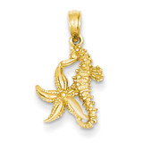 Seahorse & Starfish Pendant 14k Gold Solid D1394