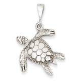 Open-Backed Sea Turtle Pendant 14k White Gold Solid Polished D1404