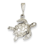 Open-Backed Sea Turtle Pendant 14k White Gold Solid Polished D1406