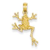 Open-Backed Frog Pendant 14k Gold Solid Polished D1412
