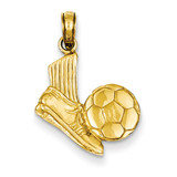 Open-Backed Soccer Shoe & Ball Pendant 14k Gold Solid D1459