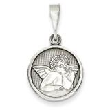 Polished & Satin Angel Pendant 14k White Gold D1509