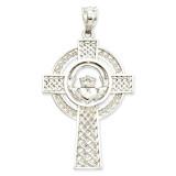 Celtic Claddagh Cross Pendant 14k White Gold D1522