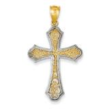 Rhodium Filigree Cross Pendant 14k Gold D1645