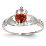 Synthetic Diamond January Birthstone Claddagh Heart Ring 14k White Gold D1780