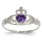 Synthetic Diamond February Birthstone Claddagh Heart Ring 14k White Gold D1781