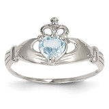 Synthetic Diamond March Birthstone Claddagh Heart Ring 14k White Gold D1782