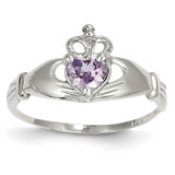 Synthetic Diamond June Birthstone Claddagh Heart Ring 14k White Gold D1785