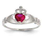 Synthetic Diamond July Birthstone Claddagh Heart Ring 14k White Gold D1786