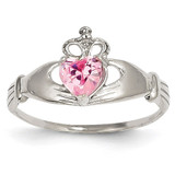 Synthetic Diamond October Birthstone Claddagh Heart Ring 14k White Gold D1789