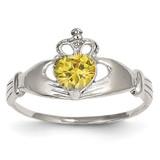 Synthetic Diamond November Birthstone Claddagh Heart Ring 14k White Gold D1790