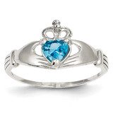 Synthetic Diamond December Birthstone Claddagh Heart Ring 14k White Gold D1791
