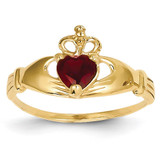 January Birthstone Claddagh Heart Ring 14k Gold Synthetic Diamond D1792