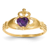 February Birthstone Claddagh Heart Ring 14k Gold Synthetic Diamond D1793