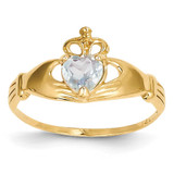 March Birthstone Claddagh Heart Ring 14k Gold Synthetic Diamond D1794