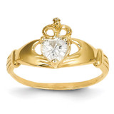 April Birthstone Claddagh Heart Ring 14k Gold Synthetic Diamond D1795