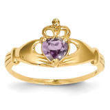 June Birthstone Claddagh Heart Ring 14k Gold Synthetic Diamond D1797
