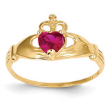 July Birthstone Claddagh Heart Ring 14k Gold Synthetic Diamond D1798