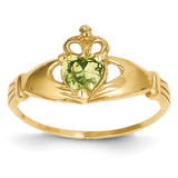 August Birthstone Claddagh Heart Ring 14k Gold Synthetic Diamond D1799