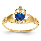 September Birthstone Claddagh Heart Ring 14k Gold Synthetic Diamond D1800