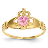 October Birthstone Claddagh Heart Ring 14k Gold Synthetic Diamond D1801