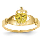 November Birthstone Claddagh Heart Ring 14k Gold Synthetic Diamond D1802