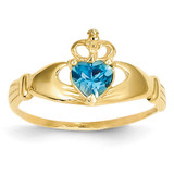 December Birthstone Claddagh Heart Ring 14k Gold Synthetic Diamond D1803