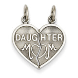 Daughter Mom 2 Piece Heart Charm 14k White Gold D1829