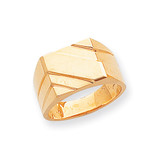 Diagonal Mens Signet Ring 14k Gold Polished D1836