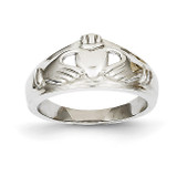 Ladies Claddagh Ring 14k White Gold D1851