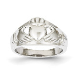 Ladies Claddagh Ring 14k White Gold D1852