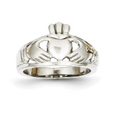 Ladies Claddagh Ring 14k White Gold D1856