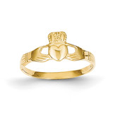 Ladies Claddagh Ring 14k Gold Polished D1862