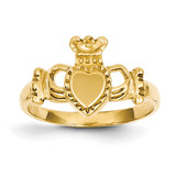 Ladies Claddagh Ring 14k Gold Polished D1868