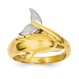 Polished Dolphin Ring 14k Two-Tone Gold D1924