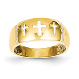 Cut-out 3 Cross Ring 14k Gold Polished & Rhodium D1926