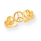 Peace Sign Toe Ring 14k Gold D1959