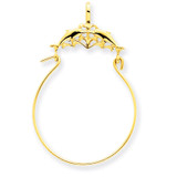 Double Dolphins Charm Holder Pendant 14k Gold D2901