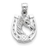 Horse Head in Horseshoe Pendant 14k White Gold D2915