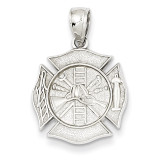 Fireman Shield Pendant 14k White Gold D2939