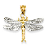 Dragonfly Pendant 14k Two-Tone Gold D294