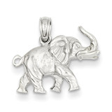 3-D Elephant Profile with Tusk Pendant 14k White Gold D3064