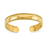 Mill Grain Adjustable Toe Ring 14k Gold D3075