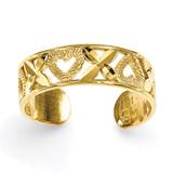 X & Heart Toe Ring 14k Gold Diamond-cut D3076