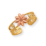 Flower Toe Ring 14k Two-Tone Gold D3091