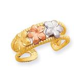 Rhodium Plumeria Toe Ring 14k Two-Tone Gold D3092