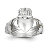 Ladies Claddagh Ring 14k White Gold D3111